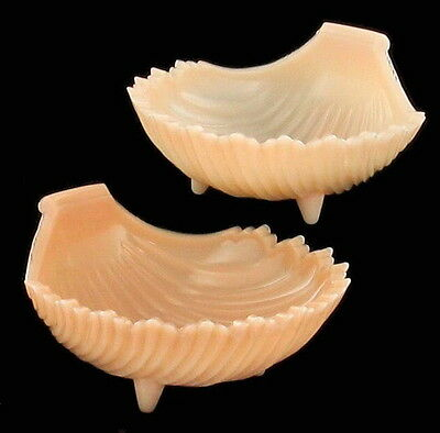 Vintage Westmoreland Pink Milk Glass Scalloped Shell Bowls Set Of Two,  Pair