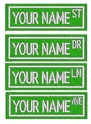 Custom Embroidered Name Patch STREET SIGN FELT Badge Tag Biker Sports Motorcycle