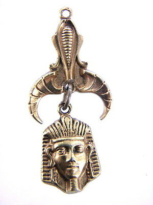 "Vintage  King Tut ""art"" Egyptian Revival Pharaoh Drop Pendant Gold Finish"