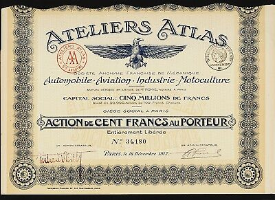 Ateliers ATLAS Automobile Aviation Industry France 1917