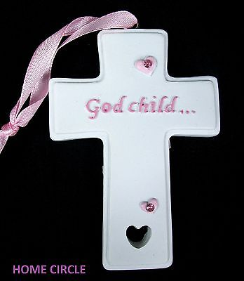 God Child Cross Bomboniere White/pink Religious Holy Ceremony Communion Gift