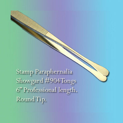 "Showgard Stamp Tongs 6"" Professional Length, RoundTip (#904)"