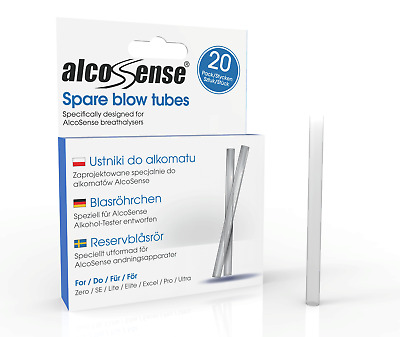 20 Spare Straws  Blow Tubes Mouth Pieces For Alcosense Elite & Lite Breathalyser