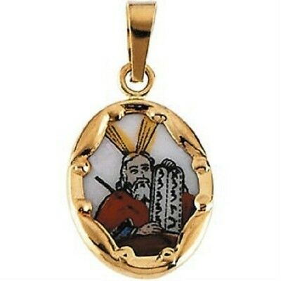 Hand Painted Moses Ceramic Porcelain Religious Pendant Charm 14K Yellow Gold