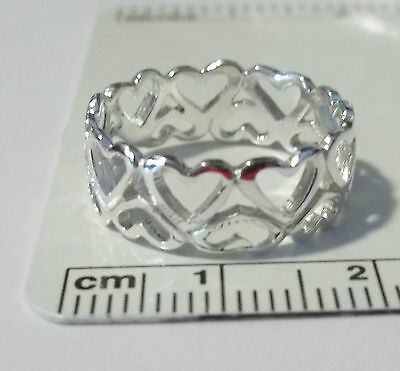 size 6 bright Sterling Silver Double Hearts around Love 7mm wide band Ring