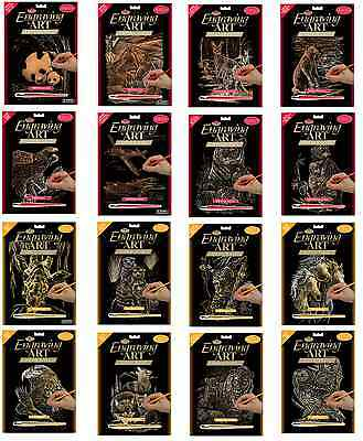 30 Designs A4 Gold & Copper Scraper Foil Engraving Art Kits Tool & Instructions