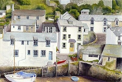 Polperro Cornwall Print of Watercolour Direct From Artist A4 Size Yacht