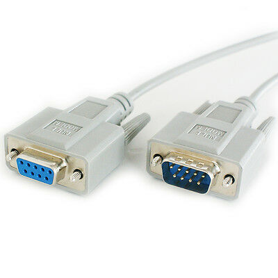 2m 9 Way RS232 Male to Female Null Modem Extension Cable Lead - Serial Pin DB9