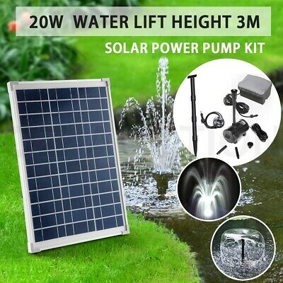 20W Solar Power Fountain Water Pump Pond Pool Kit Timer & LED Light Submersible