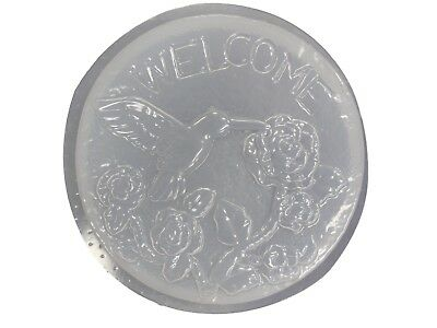 Welcome Hummingbird Rose Flower Stepping Stone Concrete Mold 1088 Moldcreations