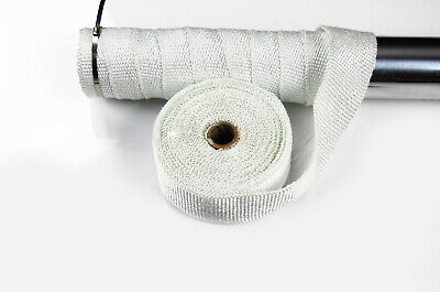 Exhaust Manifold Downpipe Heat Wrap 10M & 30Cm Ties Rap White