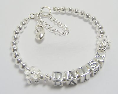 Girls Christening/Communion  Bracelet Stg Silver - Grow-with-me-Range  ANY NAME