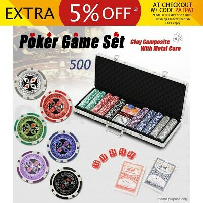 500 Chips Poker Card Game Play Set Aluminium Carry Case Casino Chip Dice Gamble
