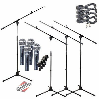 4 Pack Microphone Boom Arm Stand Holder XLR Cable Cardioid Dynamic Mic Clip