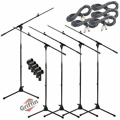 Microphone Boom Stand 5 PACK Lot - Griffin XLR Cable Mic Clip Stage Studio
