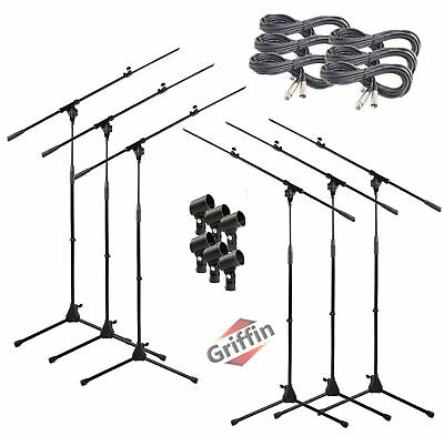 Microphone Boom Stand 6 PACK - Griffin Telescoping Mic Stage XLR Cable Studio