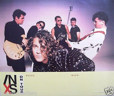 """INXS """"X - ON TOUR"""" U.S. PROMO POSTER FROM 1990: Group Shot Above New """"X"""" Logo"""