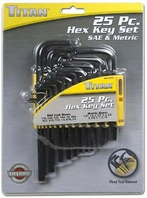 Titan 12712 25 Piece Hex Key Set Sae & Metric Sizes