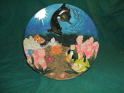 Polyresin 3-D Wall Plaque or Plate - Dolphins, Turtle and Fish - Under the Sea