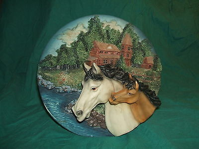Polyresin 3-D Wall Plaque or Plate - Horse with Colt - Power Point