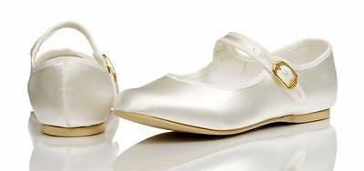 Ivory Or White Bridesmaids Flower Girl Communion Flat Shoes All Sizes LOUISE