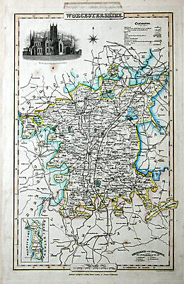 c1830 James Pigot steel engraved antique map of Worcestershire