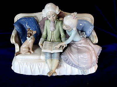 Lladro #5229 Story Time Brand Nib Girl Boy Couch Dog Rare $450 Off Free Shipping