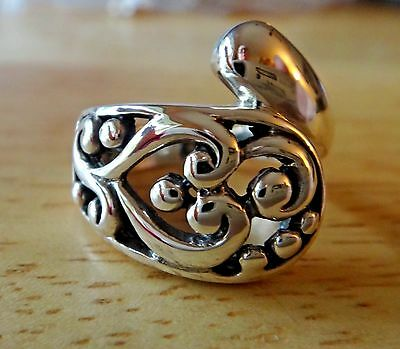size 6 Sterling Silver Open cut out Filigree Spoon Handle 17mm wide Ring