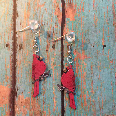 Red Plastic Cardinal Bird Dangle Fish Hook Earrings Handcrafted Made in USA