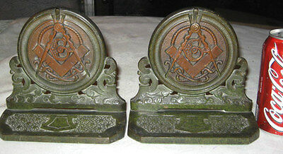 Antique Judd 9753 Free Mason Arts & Crafts Cast Iron Masonic 3-D Statue Bookends