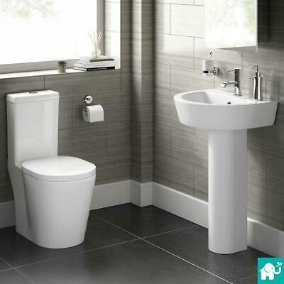 White Close Coupled Toilet & Pedestal Sink 4 Piece Complete Bathroom Suite CS20