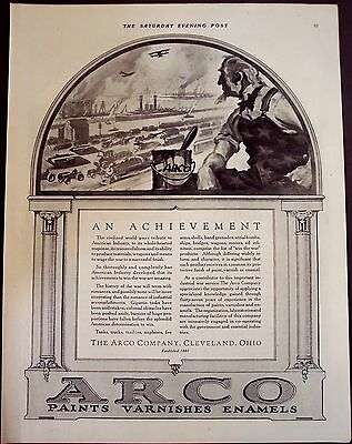 1918 original vintage Ad ARCO Paints, Varnishes, Enamels