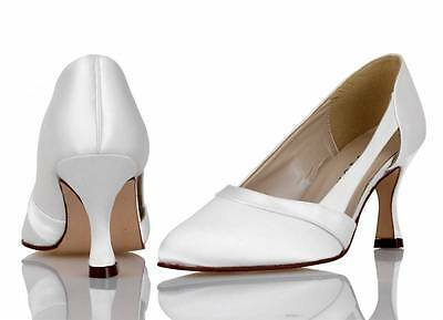 Ivory Or White satin bridal bridesmaid wedding shoes Sizes 3-8 By P&P Style AVA