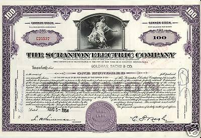 THE SCRANTON ELECTRIC COMPANY issued to Goldman Sachs 1954 100 shares old stock