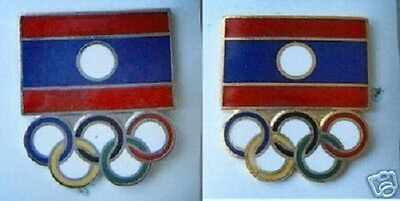OLD PIN BUTTON LAOS NATIONAL OLYMPIC COMMITTEE 2pc. Enamel