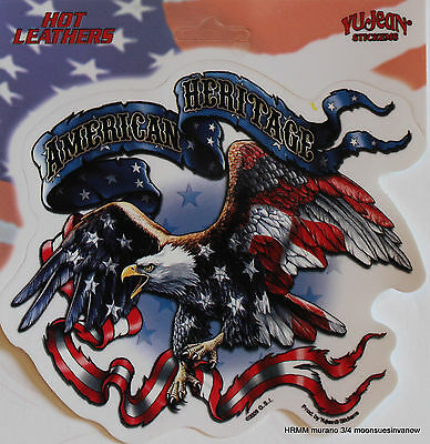 65563d773b8a6 Hot Leather Customize Biker Tank Decal American Heritage Eagle Car Sticker  Flag