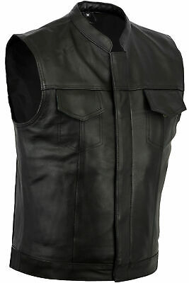 New Motorcycle Sons Of Anarchy Style Vest Genuine A Grade Cowhide Leather Black
