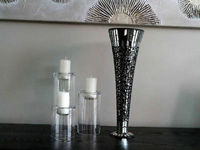 4 x Large Vase dark Mosaic 40cm tall Bulk Wholesale lot reduced to clear