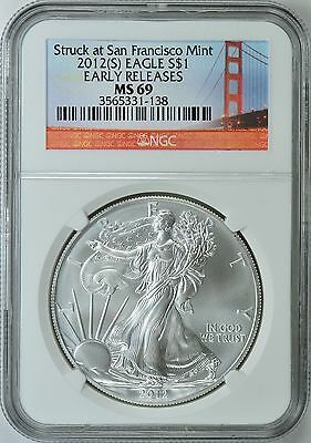 2012 (S) Silver Eagle Struck @ San Francisco Ngc Ms69 Early Releases