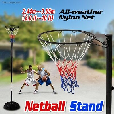 Basketball Hoop Net System Stand Portable Pole Height Adjustable Netball Ring