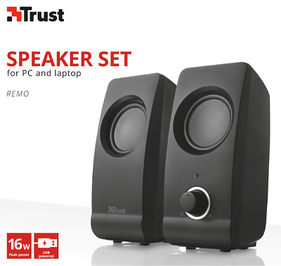 New Trust 17595 2.0 Remo 16W Usb Powered Speaker Set For Laptop Tablet Pc Etc