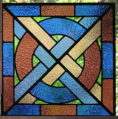 """ely"" Medieval Stained Glass Panel- Blue, Plum & Green Inserts"