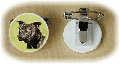 Staffordshire Bull Terrier Dog Fine Bone China Ring Clip No 3 by Starprint