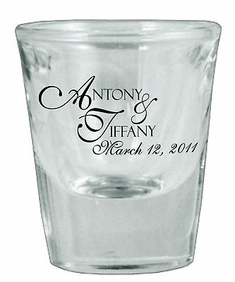 60 Personalized Glass Wedding Favor Shot Glasses NEW!