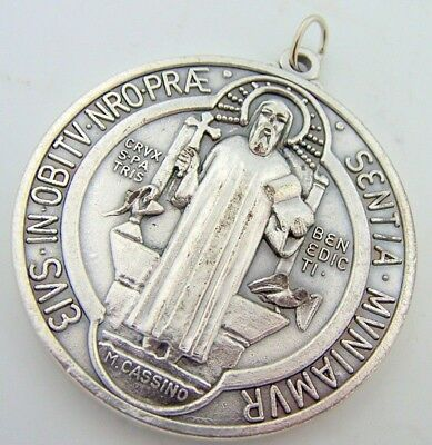 Saint St Benedict Silver Gild Round Shaped Medal Religious Charm Pendant Icon