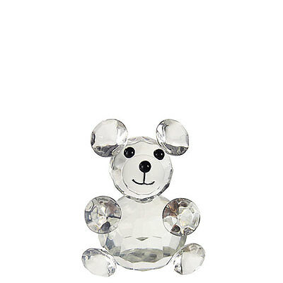 Clear Crystal Glass Teddy Bear Bomboniere Newborn Baby Boy Girl Gift Shower Deco