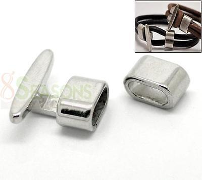 5 Sets Silver Tone Hook Clasps 23x19mm,13x8mm for Leather Bracelet