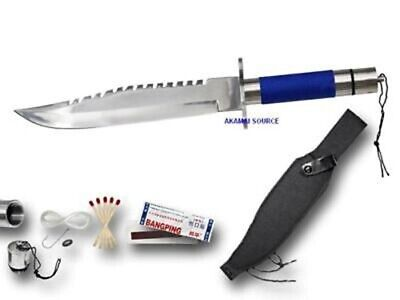 """14"""" Blue Survival Kit Knife RAMBO Hunting Fish Camping Emergency Combat Safety"""