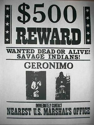 """(202L) NOVELTY POSTER AMERICAN INDIAN GERONIMO OLD WESTERN REWARD 11""""x14"""""""