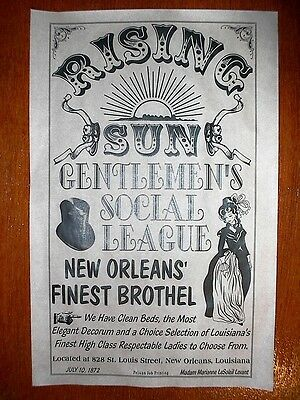 """(356) OLD WEST BROTHEL RISING SUN LOUISIANA NEW ORLEANS POSTER 11""""x17"""""""